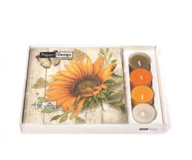 kadobox kaars en servet zonnebloem