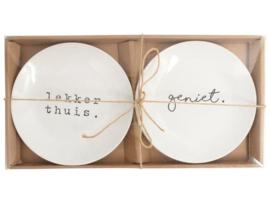 Set à 2 borden Geniet/Lekker thui