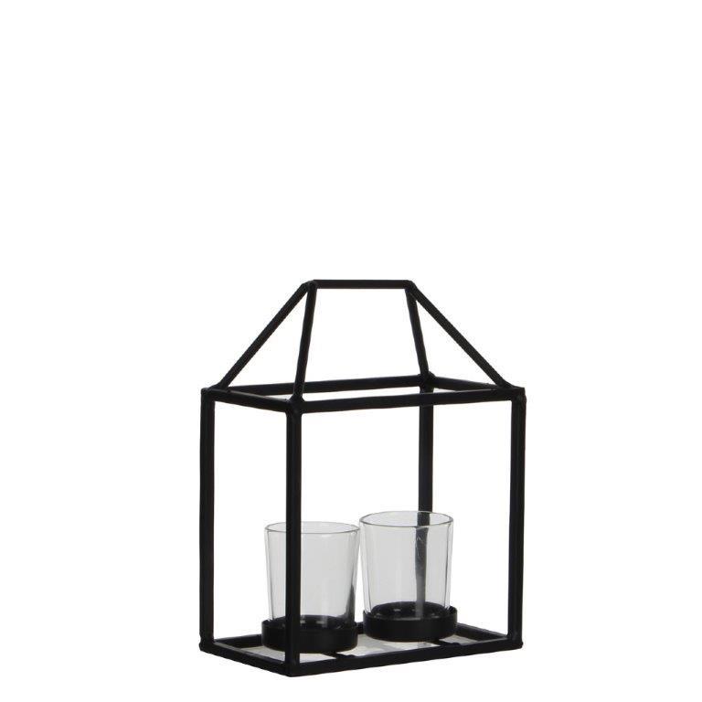 metalen huis met glazen kaarshouder