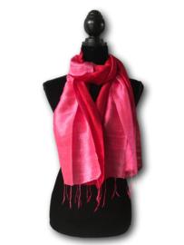 Brede zijden sjaal multicolor roze-rood