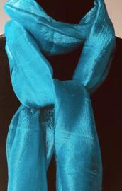 Zijden sjaal turquoiseblauw