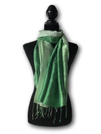 Brede zijden sjaal multicolor groen