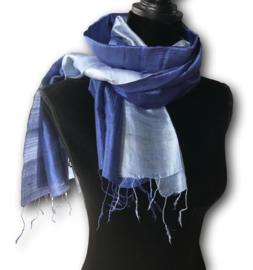 Brede zijden sjaal multicolor blauw