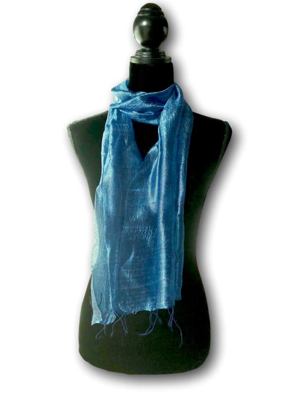Zijden sjaal petrolblauw