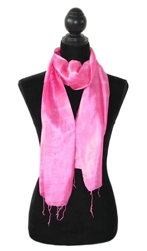 Zijden sjaal zuurstokroze