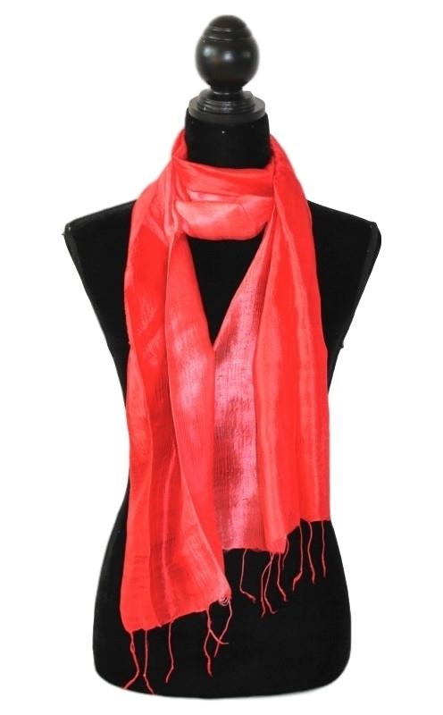Zijden sjaal multicolor rood-roze