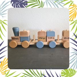 Jollein Blokkentrein blauw - caramel