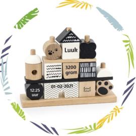 Label Label - Stapeltoren huisje panda -met naam