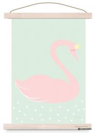 poster  roze zwaan