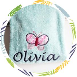 Handdoek met naam: Vlinder