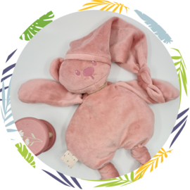 nattou lapidou knuffelbeer oudroze met naam