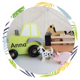 houten Truck  met boerderij dieren pastel