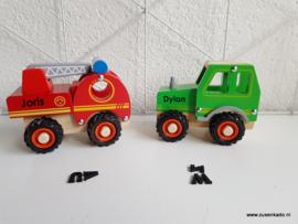 Brandweer auto hout  met naam