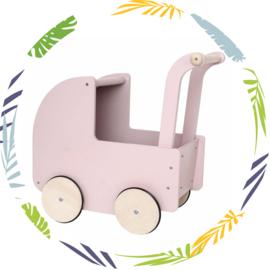 Houten poppenwagen  met  kap - roze (met naam)