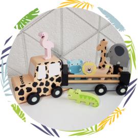 Houten Jeep safari met dieren