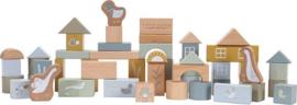 Little Dutch houten blokken in ton - blauw