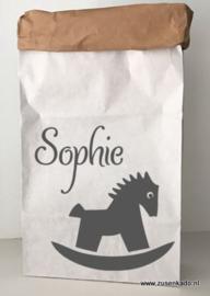 Paperbag hobbelpaard met naam
