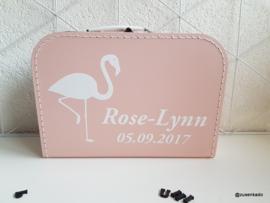 koffertje met naam: flamingo
