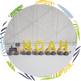 Naamtrein houten letters  geel