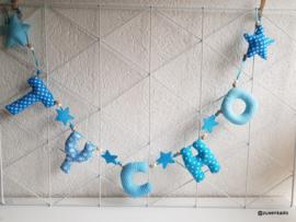 Naamslinger licht en aqua blauw tinten