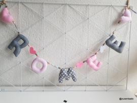 Naamslinger roze grijs