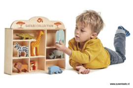 Tender Leaf Toys Set safaridieren in houten box
