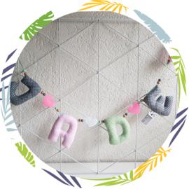 Naamslinger mint, grijs, roze