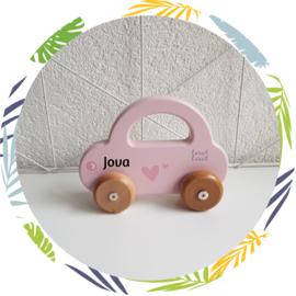 Label Label - Auto roze - met naam