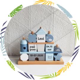 Label Label - Stapeltoren huisje blauw - met naam