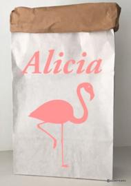 Paperbag  flamingo met naam