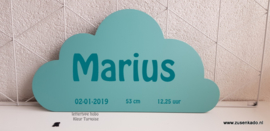 mint wolk wand decoratie