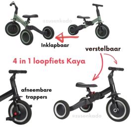 Kaya 4 in 1 loopfiets antraciet grijs