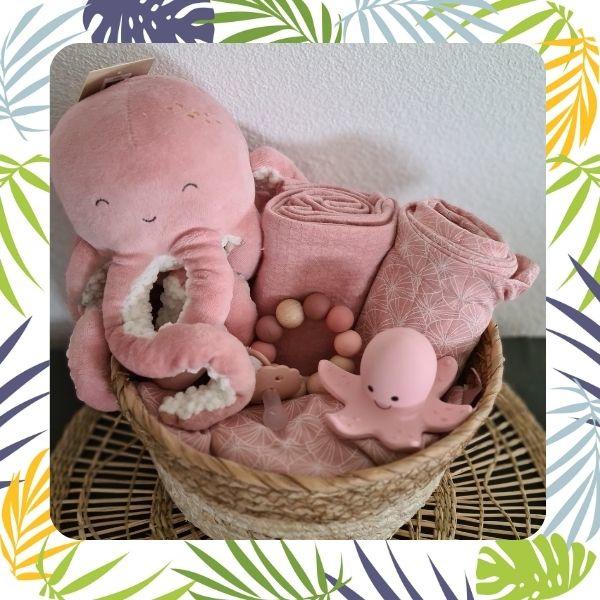 kraamcadeau pakket roze  octopus