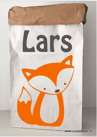 Paperbag vos met naam