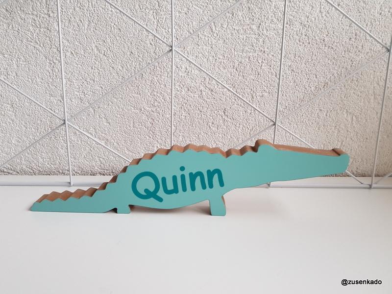 Houten alligator met naam