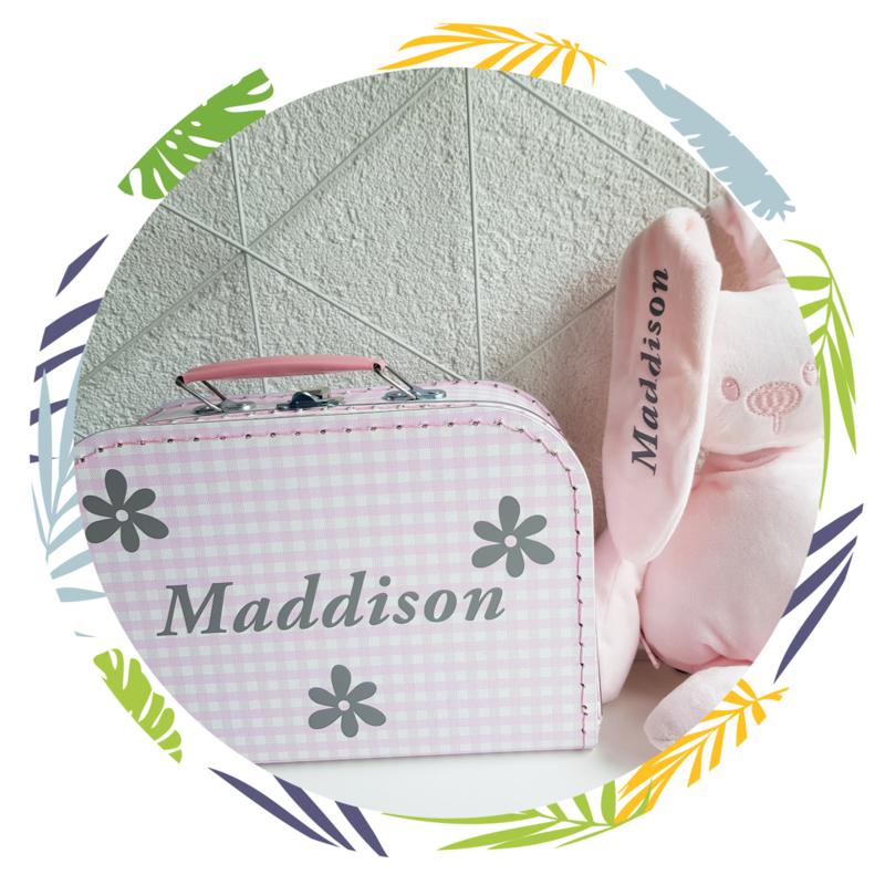 Koffertje met naam  en Nattou lapidou knuffel