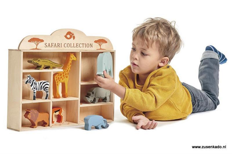 Tender Leaf Toys Set safaridieren in houten box