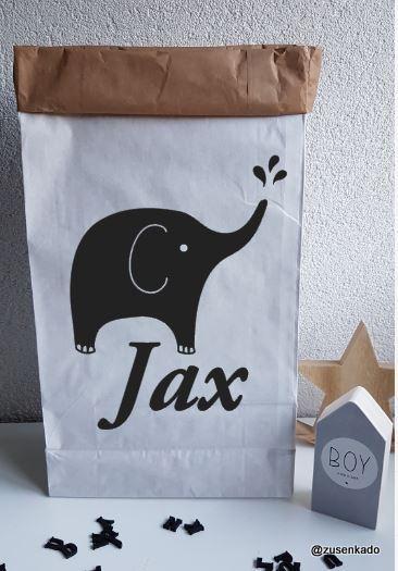 Paperbag met olifant met naam