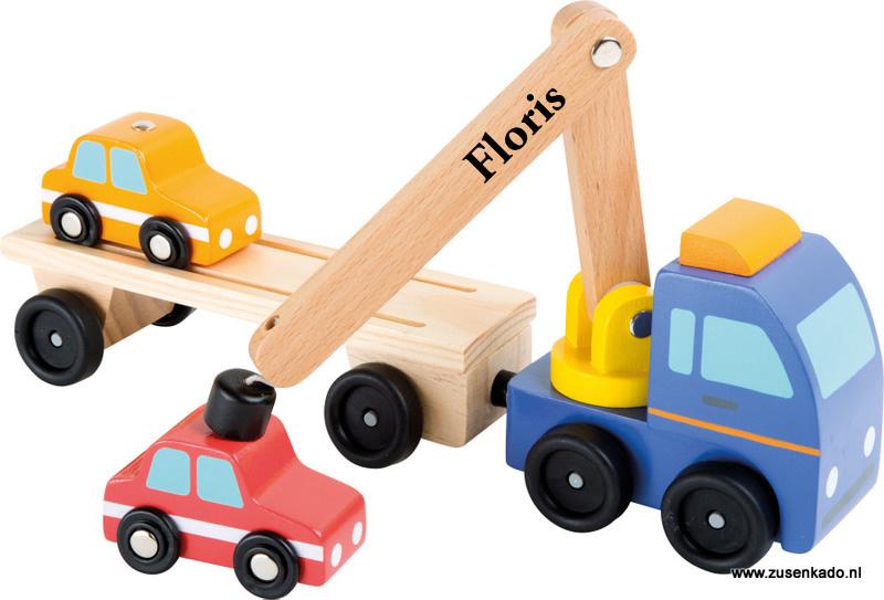 transportwagen met kraan  met 2 auto's
