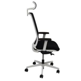 Bureaustoel Eos met hoofdsteun zwarte zitting wit frame