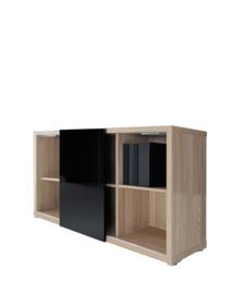 Boekenkast met schuifdeur laag model Mito afm 140x42,2x87,9cm