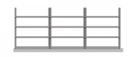 Flexstore kast inrichting open laden 23 cm 3 rijen (Binnenmaat kast: 710-910mm)