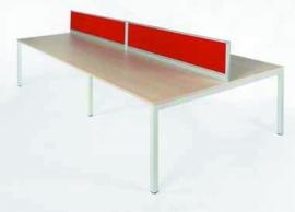 Bureautafel Bench NPO Fyra 160x320cm incl opzetwand vaste hoogte 75 cm ( 4 personen)