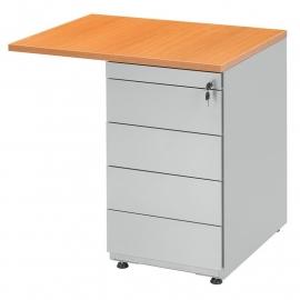 Ladenblok op bureauhoogte / Standcontainer, 60 cm diep 4 laden R serie