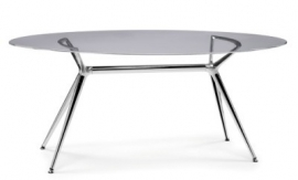 Glazen bureau Design tafel Ovaal 180x100cm, Metropolis