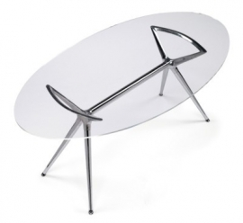 Glazen bureau Design tafel Ovaal 150x112cm, Metropolis