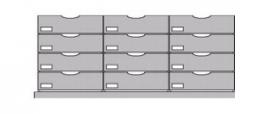 Flexstore kast inrichting gesloten laden 23 cm 3 rijen (Binnenmaat kast: 710-910mm)