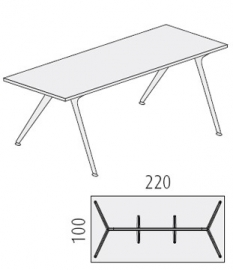 Glazen bureau Design tafel 220x100 cm, zwart glas, Arkitek