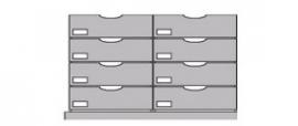 Flexstore kastinrichting  gesloten laden 23 cm 2 rijen (Binnenmaat kast: 478-678mm)
