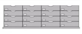 Flexstore kast inrichting gesloten laden 23 cm 4 rijen (Binnenmaat kast: 942-1142mm)